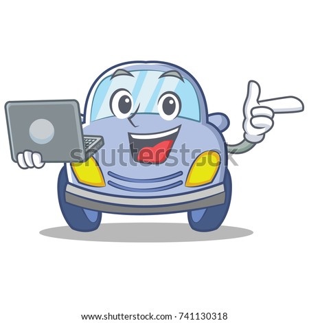 With laptop cute car character cartoon
