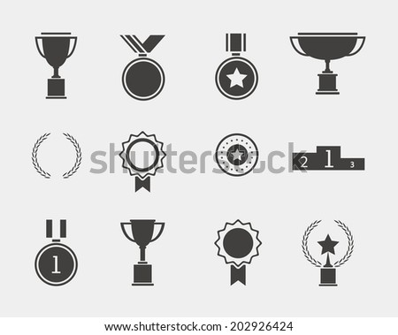 with laurel wreaths, ribbons, stars, medals, podium - stock vector