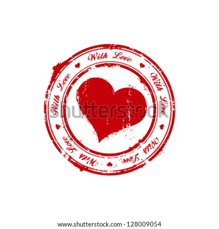 With love rubber stamp - stock vector