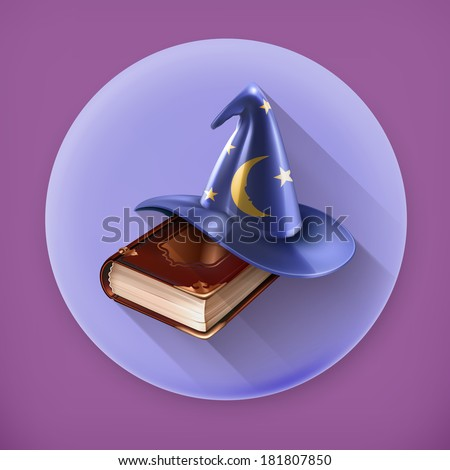 Wizard hat and old book, long shadow vector icon - stock vector