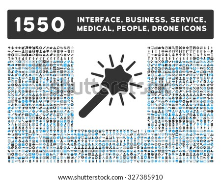 Wizard icon and other web interface, business, tools, people, medical service and awards vector symbols. Style is bicolor flat symbols, blue and gray colors, rounded angles, white background. - stock vector