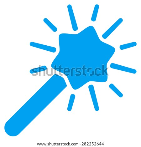 Wizard icon from Basic Plain Icon Set. Style: flat vector image, blue color, rounded angles, white background. - stock vector