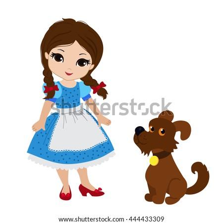 Wizard Oz Dorothy Her Puppy Vector Stock Vector 444433309