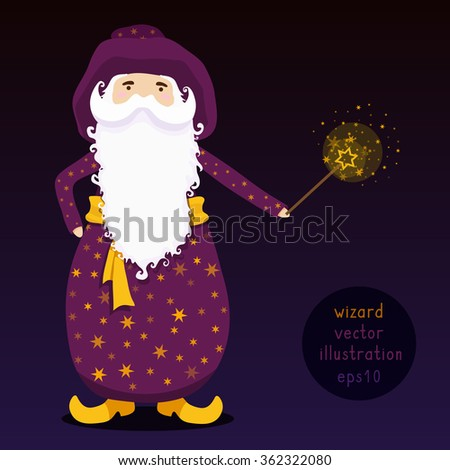 Wizard with magic wand. Vector illustration. - stock vector