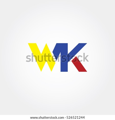 WK flat initial letter logo combining yellow, blue and red