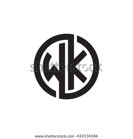 Wk Initial Letters Looping Linked Circle Monogram Logo
