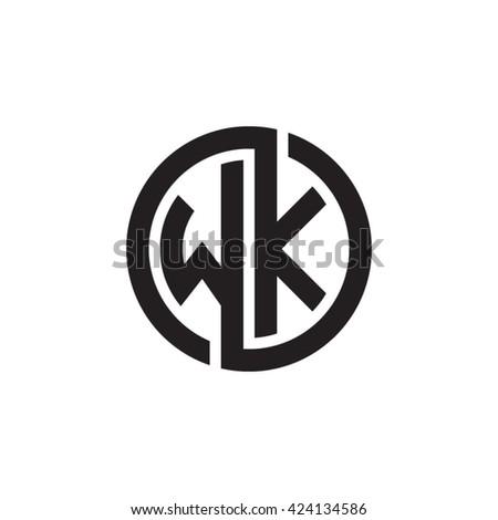 Wk Initial Letters Looping Linked Circle Monogram Logo