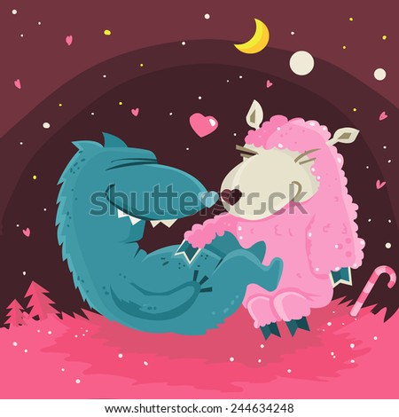Wolf and sweet pink sheep wish you a happy valentynes day. Vector illustration. - stock vector