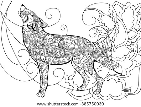 Animal Coloring With A Wolf Book For Adults Vector