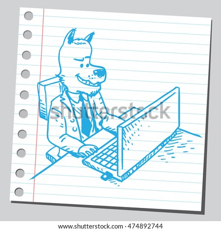 Wolf businessman working on computer