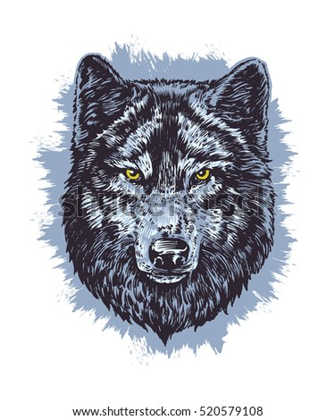 Wolf dark vector hand draw illustration. T-shirt illustration. Poster illustration. Sticker illustration.
