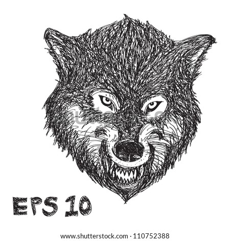 Wolf Drawing - stock vector