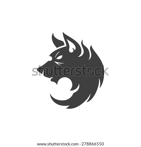 Wolf face logo emblem template mascot symbol for business or shirt design. Vector Vintage Design Element. - stock vector