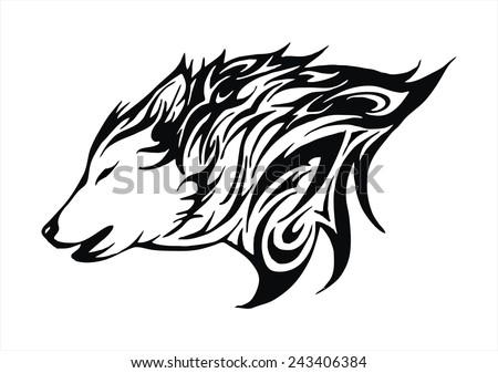 wolf fire flame head tattoo logo vector - stock vector