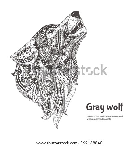 Wolf. Hand-drawn wolf side view with ethnic floral doodle pattern. Coloring page - zendala, design for  relaxation and meditation for adults, vector illustration, isolated on a white background. - stock vector