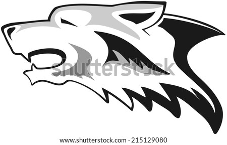 Wolf head - tribal tattoo - stock vector