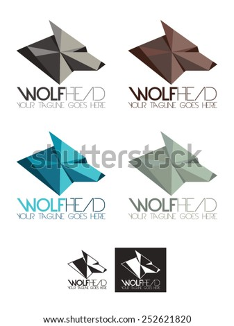 Wolf head vector logo template, a logo template representing a polygon wolf's head or a head of a canine. Available in four colors, white and black. - stock vector