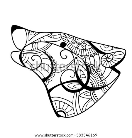 Wolf Head Wolf Coloring Book Wolf Stock Vector 383346169 ...