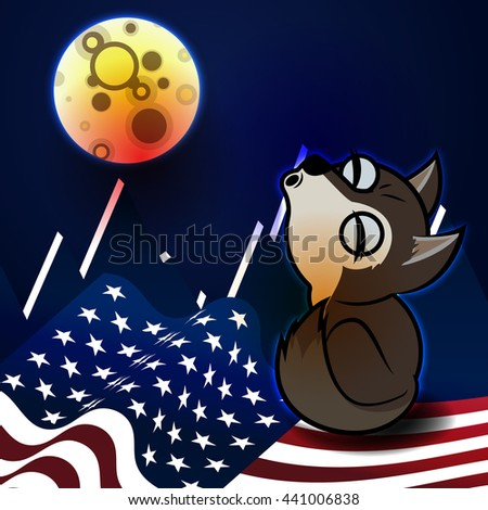 Wolf howling at the moon. Cartoon background with US flag