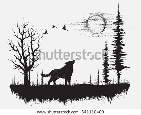 wolf howling at the moon in the foresthand drawn vector illustration