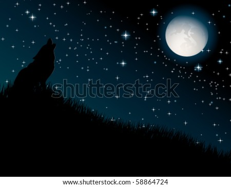 Wolf howling at the moon on night background - stock vector