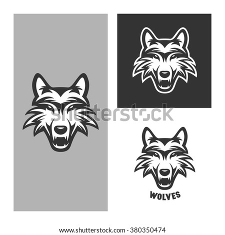 Wolf mascot for sport teams. Monochrome trendy design element for t-shirt prints, posters, logos and labels. Vintage vector illustration. - stock vector