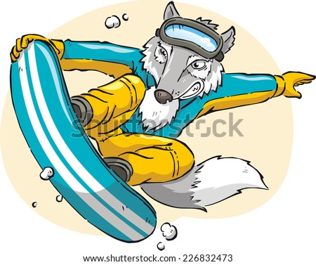 Wolf snow boarding cartoon illustration