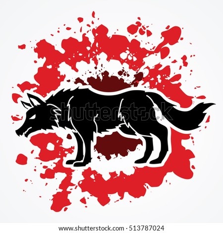 Wolf standing designed on splash blood background graphic vector