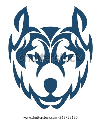 WOLF TRIBAL BLUE - stock vector