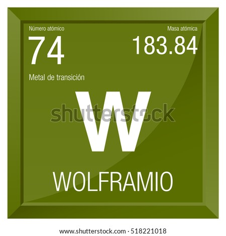 Tungsten simple style tile icon chemical stock vector 339763862 wolframio symbol tungsten in spanish language element number 74 of the periodic table of urtaz Choice Image