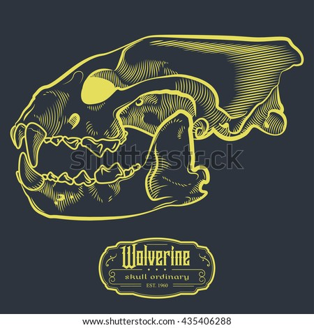 Wolverine Skull Engraving Style Etching Label
