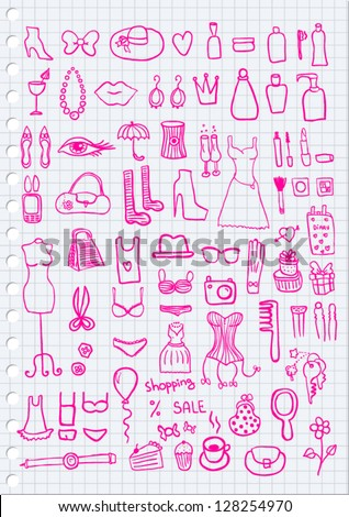 Woman Accessories on paper background