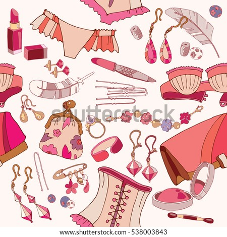 Woman accessories seamless pattern, underwear, cosmetics, jewelry, fashion background