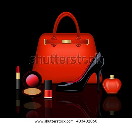 Woman Accessories Set. Bag, Shoes, Cosmetics, Perfume Vector Illustration