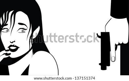 Woman afraid of man with a gun. EPS 10 vector, grouped for easy editing. No open shapes or paths. - stock vector