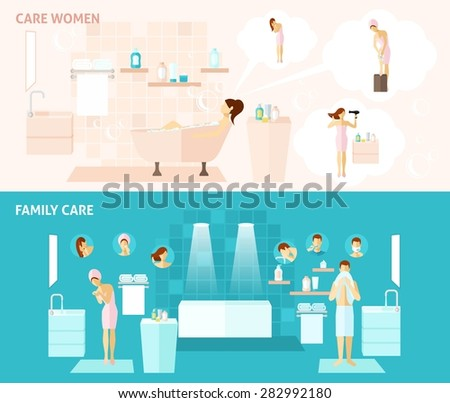 Woman and family hygiene and care flat horizontal banners set vector illustration - stock vector