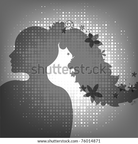 Woman And Flower, Vector Illustration - stock vector
