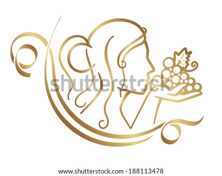 Woman and grapes silhouette - stock vector