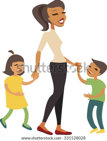 Woman and kids holding hands while walking - stock vector