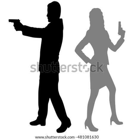 woman and man aiming gun