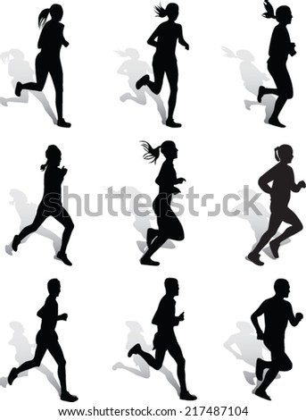 woman and man as runners - stock vector
