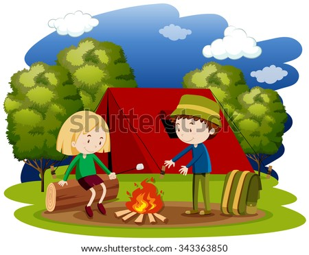 Woman and man camping at night illustration