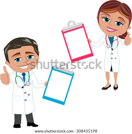 Woman and Man Doctor Showing Folder isolated - stock vector