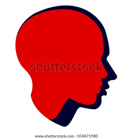 woman and man head, vector - stock vector