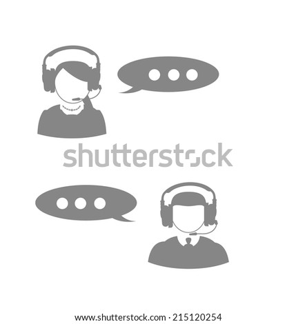 Woman and man icon call center technical support faceless woman and man with a headset on a white background - stock vector