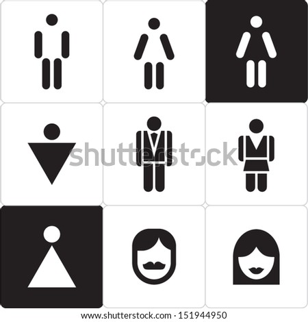 Woman and man icon. Man & Woman restroom sign. WC sign. - stock vector