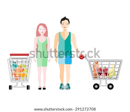 Woman and Man Shopping  in Supermarket. Vector Cartoon Characters with Shopping Carts. Healthy Grocery Shopping. Vector Flat Illustration. - stock vector