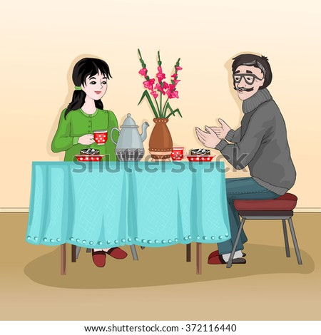 Woman and man sitting at the table and drink tea with cake. The conversation in the kitchen between two people. Meeting at home. Vector illustration.
