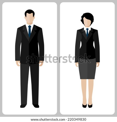 Woman and man vector colorful on white background - stock vector