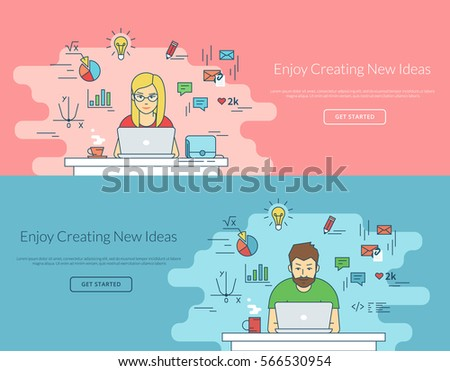 Woman and man working with laptop at work desk. Flat line contour illustration of student working process sitting at home. Educational background of young people learning and studying with computer